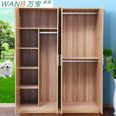 简易宜家衣柜实木质板式组合整体衣柜2门3门4门大衣柜儿童衣橱
