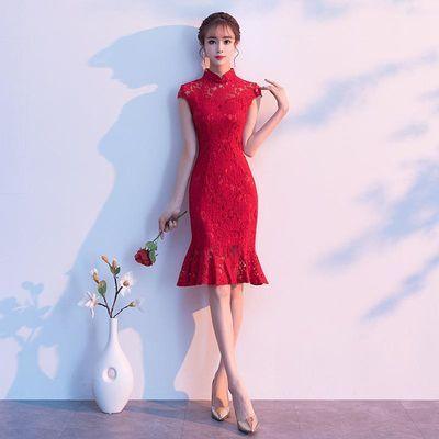 2019鱼尾敬酒服新娘夏款改良版旗袍年轻款少女结婚日常红色连衣裙