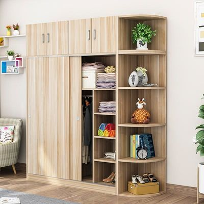 衣柜实木推拉门简约现代经济型组装儿童卧室简易大衣橱小柜子定制