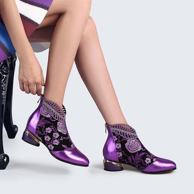 优雅真皮短靴女2019春秋单靴牛皮裸靴短筒中跟刺绣女靴冬季大码鞋