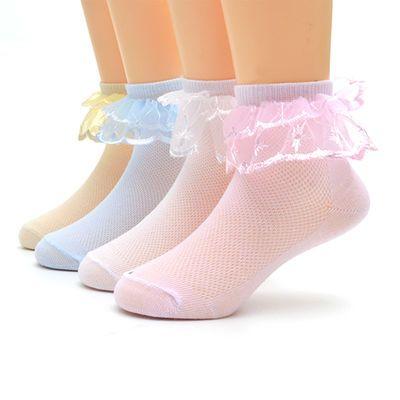 4双装夏季儿童花边女童短袜公主薄款网眼透气白色学生舞蹈袜子女【2月26日发完】