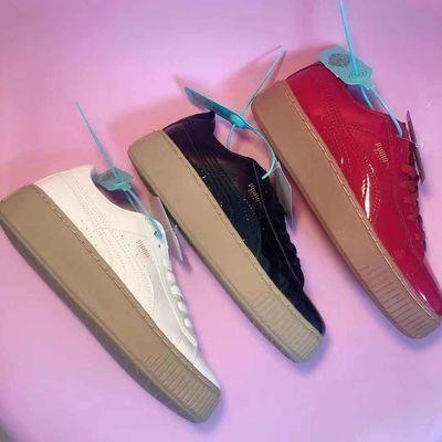 韩版原宿街拍港风漆皮松糕鞋奶白杏色学生板鞋厚底休闲运动鞋女潮