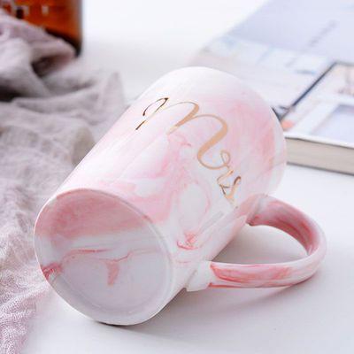 仟度彩绘陶瓷杯创意时尚马克杯带盖带勺咖啡杯大容量卡通水杯