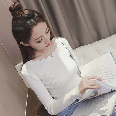 2020秋装新款韩版一字领套头短款毛衣打底衫修身百搭长袖针织衫女