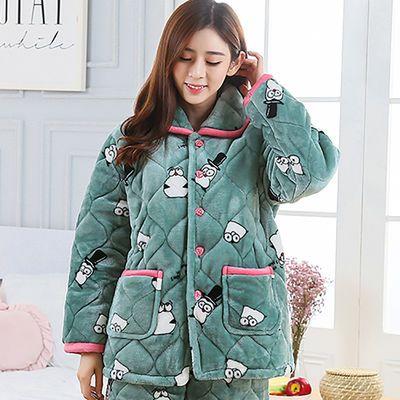 女士睡衣套装冬季女珊瑚绒三层加厚保暖夹棉可爱法兰绒家居服