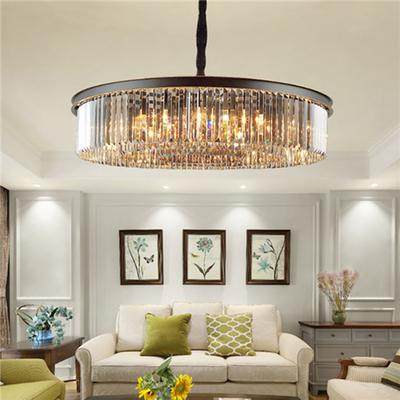 美式灯具轻奢复式楼梯客厅灯卧室餐厅黑色圆形吸顶后现代水晶吊灯