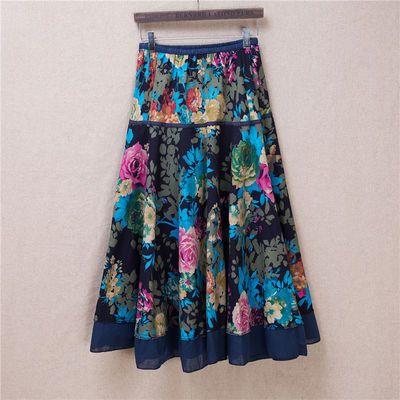 62221/2020年夏季新款女棉麻印花拼接度假旅游拍照波西米亚中长半身长裙