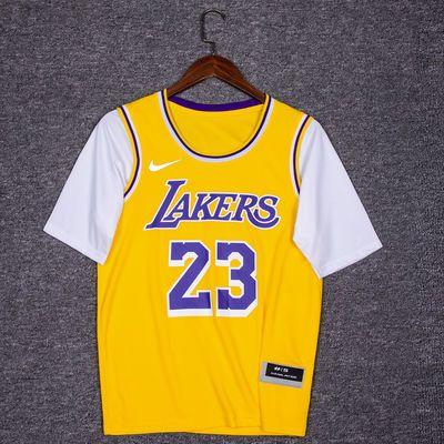 爆款NBA詹姆斯球衣男女短袖23号湖人假两件库里哈登t恤欧文11号篮