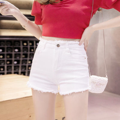 【高弹棉】高腰牛仔短裤女夏弹力修身显瘦白色黑色毛边百搭热裤潮