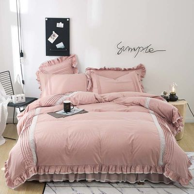 100%全棉被套四件套双人床单纯棉床裙四件套韩版公主床上用品床罩