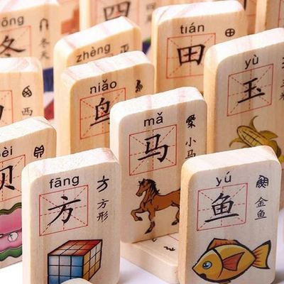 木丸子多米诺骨牌双面看图识字数字拼音木制积木早教益智儿童玩具