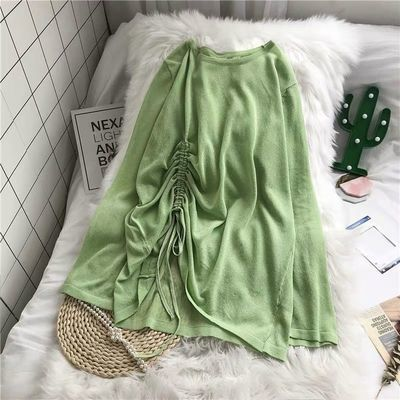 春夏韩版宽松百搭抽绳纯色针织衫防晒衣女夏长袖设计感上衣女薄款