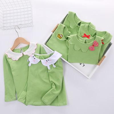春秋纯棉娃娃领绿色打底衫女宝宝洋气花边领百搭女童公主翻领T恤