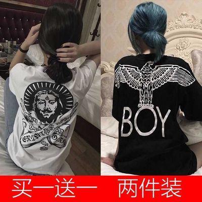 老鹰社会女快手红人网红同款BOY短袖t恤女学生五分袖韩版宽松显瘦