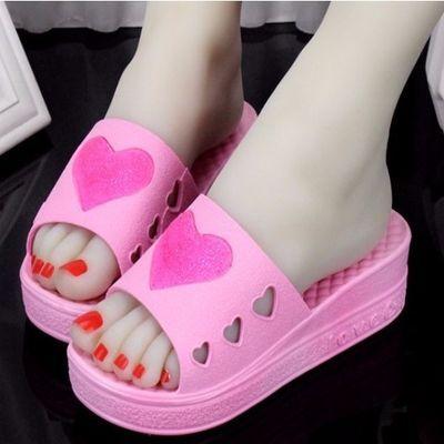 韩版时尚夏季可爱居家室内增高松糕跟厚底女士浴室防滑坡跟凉拖鞋