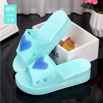 松糕拖鞋女中高跟夏季韩版时尚浴室防滑厚底居家用坡跟增高鱼嘴鞋