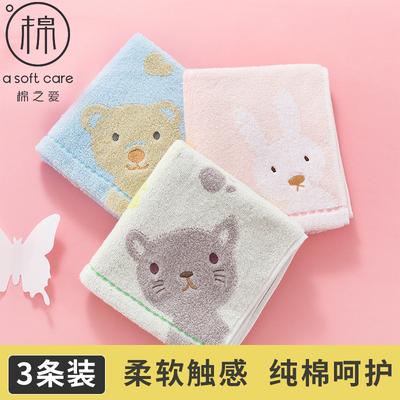 3/4条装儿童毛巾纯棉洗脸柔软吸水纱布幼儿宝宝小毛巾婴儿擦脸巾