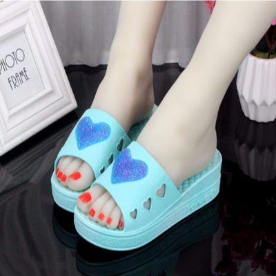 夏季韩版时尚厚底凉拖鞋居家用防滑增高跟爱心形松糕跟拖鞋女鱼嘴