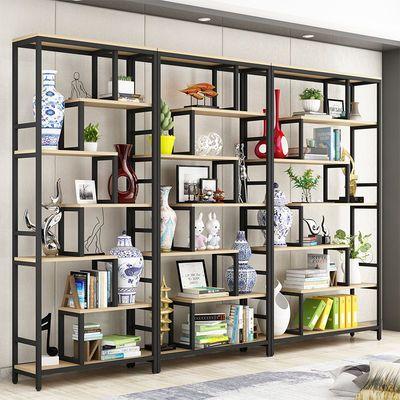 铁艺书架落地置物架现代简约简易书柜北欧家用客厅展示架钢木货架
