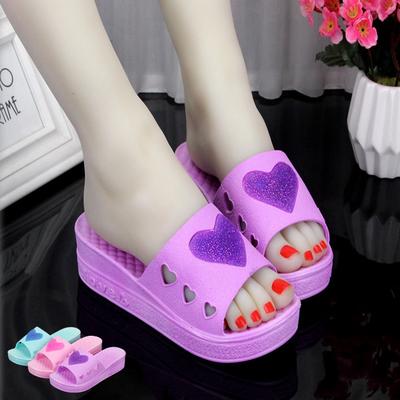 夏季新款韩版时尚外穿心形松糕跟坡跟凉拖鞋女厚底防滑室内拖鞋女