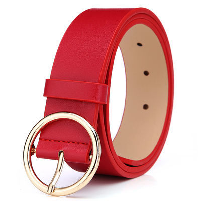 女士皮带女学生装腰带韩版简约百搭本命年红色裤带个性潮流圆扣