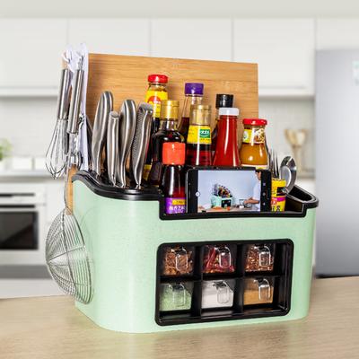 家用多功能厨房置物架调味料罐盒刀具筷勺子菜板组合收纳整理架子