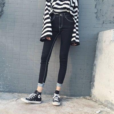 初中学生牛仔裤女韩版黑色小脚裤女铅笔长裤子九分春秋季简约显瘦