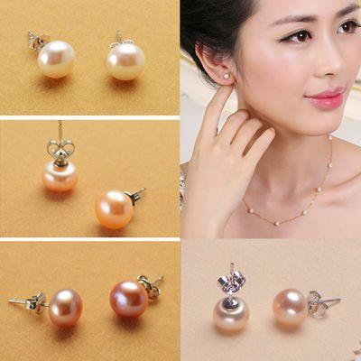 【买2送1】天然淡水珍珠耳钉女时尚日韩国耳环银饰品925防过敏