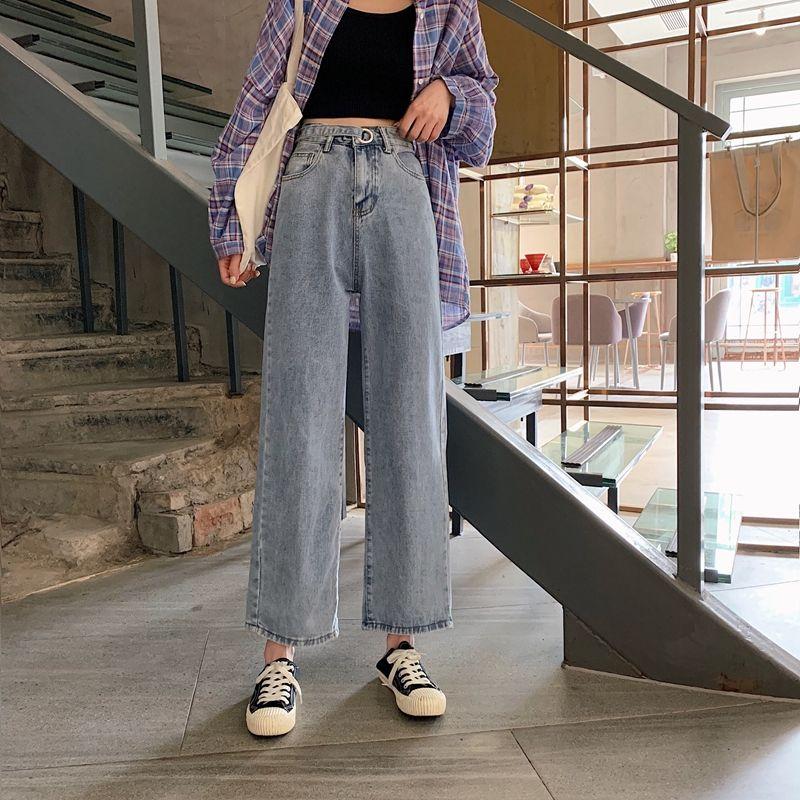 热卖新款夏季韩版ins设计感高腰直筒牛仔裤女学生百搭宽松显瘦阔
