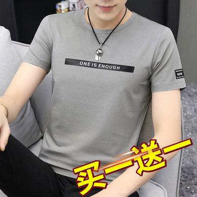莫代尔短袖t恤男装新款潮流夏季上衣服修身圆领灰色韩版半袖印花