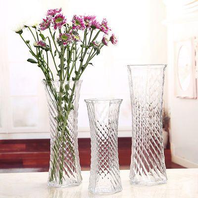 花瓶富贵竹大号玻璃透明百合干花转运竹水培六角客厅摆件插花花器