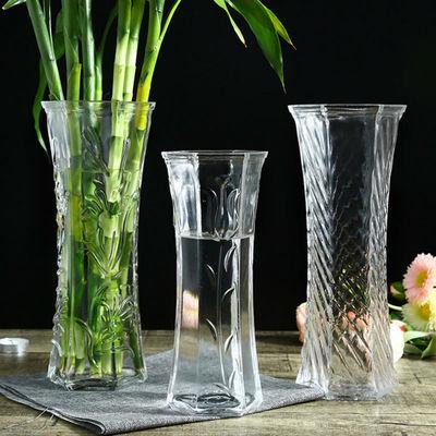 六角简约水培富贵竹花瓶家用大号透明玻璃花瓶客厅插鲜花干花花器