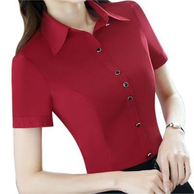 白衬衫女短袖职业装修身2019夏装韩版正装显瘦百搭红衬衣OL工作服