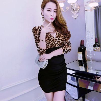 遮肚子款夜店女装2017秋季深V领长袖豹纹条纹连衣裙性感包臀裙