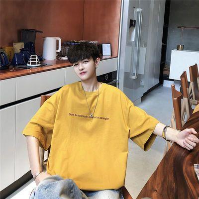 夏季五分袖男士t恤ins潮流韩版宽松中袖短袖T恤衫半袖个性tee体恤