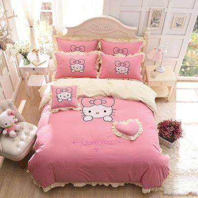 【高品质】韩版公主风卡通四件套KT猫贴布绣花边床单床裙双人被套