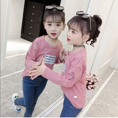 女童T恤2019春秋新款中大童洋气条纹小女孩长袖韩版中大童打底衫