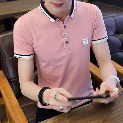 韩版 夏季潮流男装衬衫领POLO衫2019新款有带领短袖T恤男翻领半袖【3月7日发完】