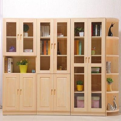 实木书柜书架松木玻璃书柜简约现代柜子自由组合儿童书柜带门书橱