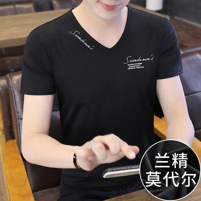 莫代尔棉短袖t恤男士夏季冰丝潮流上衣服黑色V领修身半袖体恤衫