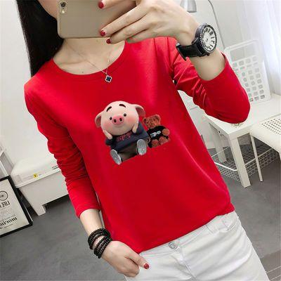 秋冬季长袖T恤女韩版新款宽松学生上衣小猪原宿风纯色百搭打底衫