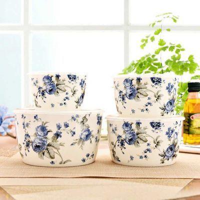 骨瓷保鲜碗四件套保鲜饭盒微波炉便当盒子家用带盖碗餐具冰箱储物