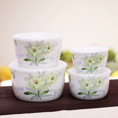 【真骨瓷】四件套骨瓷保鲜碗保鲜盒套装适用微波炉冰箱