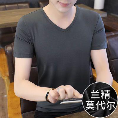 莫代尔短袖t恤男装夏季冰丝V领纯色修身半袖潮流潮牌打底衫上衣服