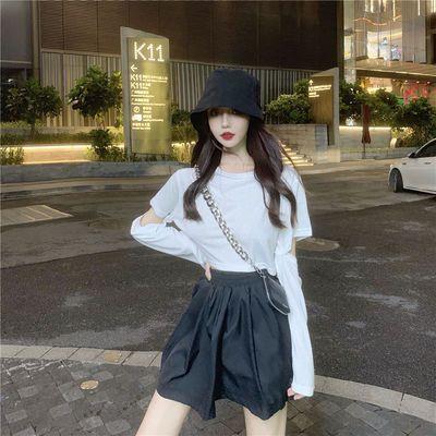 秋ins新款韩版时尚百搭短款露脐纽扣可拆卸袖子短袖T恤上衣女长袖