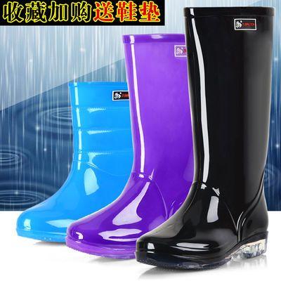 成人果冻雨鞋女士时尚中筒高筒加绒雨靴透明厚牛筋底防滑防水胶鞋