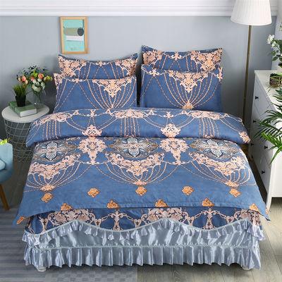 欧式加厚床裙款式四件套韩版床罩被套像全棉纯棉双人婚庆床上用品