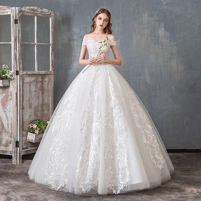 轻婚纱礼服2019新款新娘一字肩法式简约显瘦齐地森系超仙梦幻女夏