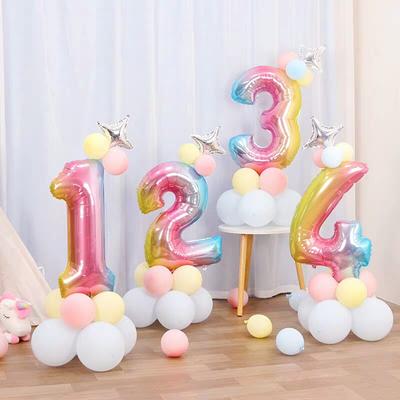 儿童生日数字气球立柱路引超大宝宝满月百天装饰周岁派对场景布置