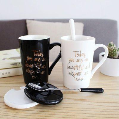 牛奶杯杯子带盖带勺子杯子男咖啡杯杯子陶瓷咖啡杯女咖啡杯男情侣